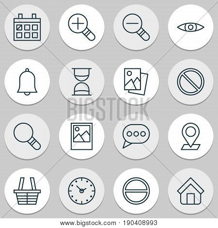 Icons Set. Collection Of Alert, Calendar, Refuse And Other Elements. Also Includes Symbols Such As Browse, Rustication, Speech.
