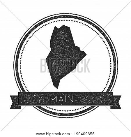 Maine Vector Map Stamp. Retro Distressed Insignia With Us State Map. Hipster Round Rubber Stamp With