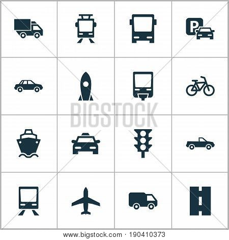 Shipment Icons Set. Collection Of Cab, Aircraft, Railroad And Other Elements. Also Includes Symbols Such As Aircraft, Ship, Wagon.