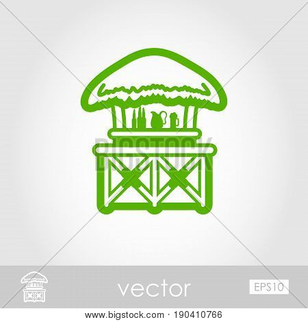 Cafe Bar bungalows on the beach outline vector icon. Beach. Summer. Summertime. Holiday. Vacation eps 10