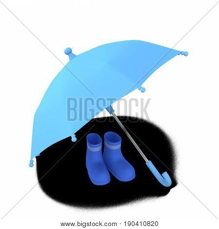 rainy season Umbrella and rain boots, 3D illustration