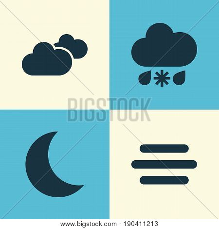 Air Icons Set. Collection Of Haze, Weather, Wet And Other Elements. Also Includes Symbols Such As Moonlight, Night, Wet.