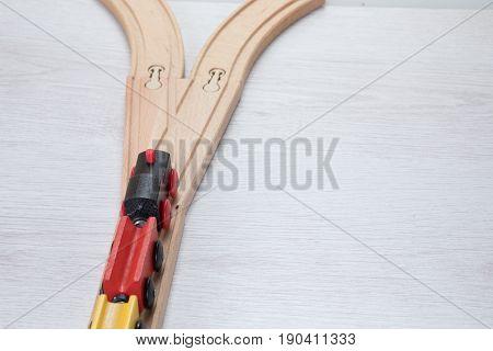 Model Train On Wooden Train By Junction