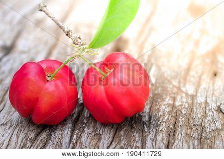 Acerola Fruit Close Up On Background.