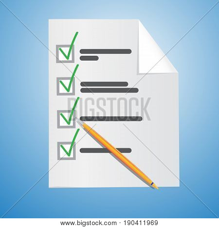 Test or questionnaire form. Vector illustration. Blank vector
