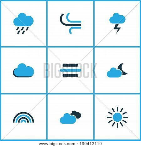 Climate Colorful Icons Set. Collection Of Cloudy Sky, Arc, Rainstorm And Other Elements. Also Includes Symbols Such As Wind, Overcast, Lightning.