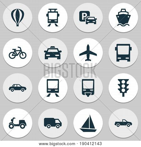 Shipment Icons Set. Collection Of Cab, Cabriolet, Truck And Other Elements. Also Includes Symbols Such As Ship, Bicycle, Taxi.