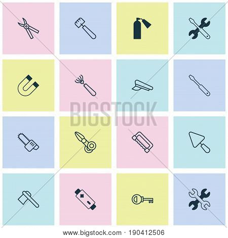 Instrument Icons Set. Collection Of Alkaline, Spanner, Password And Other Elements. Also Includes Symbols Such As Scapula, Polarity, Rake.