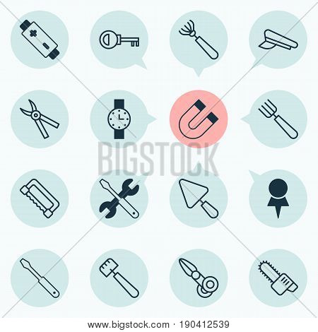 Equipment Icons Set. Collection Of Attraction, Turn Screw, Pliers And Other Elements. Also Includes Symbols Such As Screw, Scapula, Access.