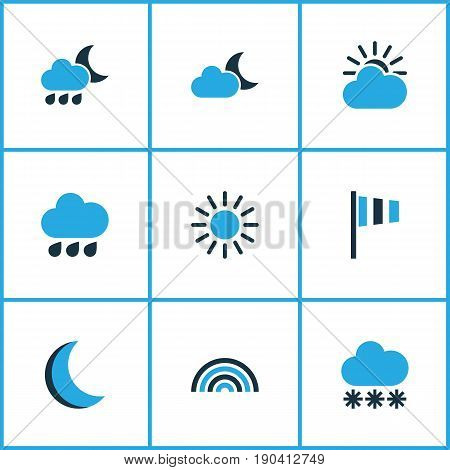 Weather Colorful Icons Set. Collection Of Arc, Rainfall, Night And Other Elements. Also Includes Symbols Such As Moon, Speed, Flag.