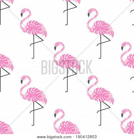 Tropical trendy seamless pattern with pink decorative flamingos from palm leaves on white background. Exotic Hawaii art background. Fashion design for fabric, wallpaper, textile and decor.