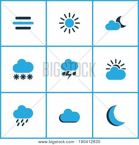 Air Colorful Icons Set. Collection Of Moonshine, Rainstorm, Snowfall And Other Elements. Also Includes Symbols Such As Cloudy, Cloud, Summer.
