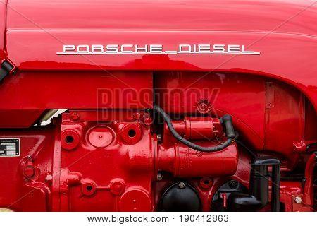PAAREN IM GLIEN GERMANY - JUNE 03 2017: Engine of a tractor Porsche Diesel Type 216 1961. Exhibition