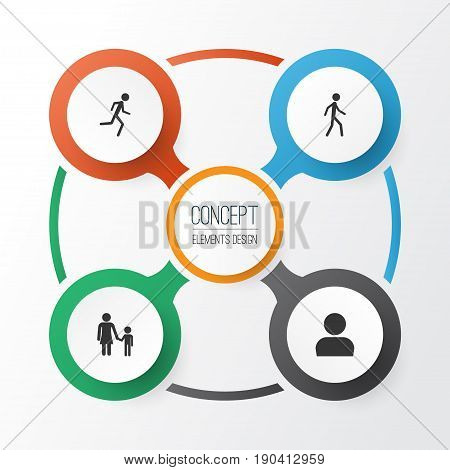 People Icons Set. Collection Of Jogging, Running, Family And Other Elements. Also Includes Symbols Such As Walking, Profile, Family.