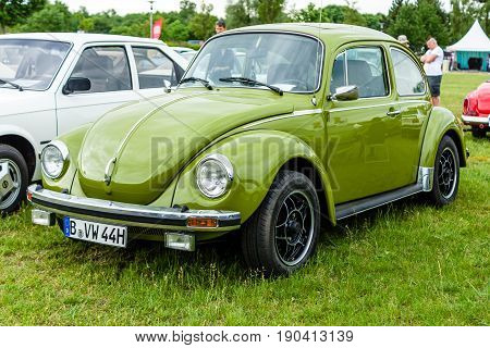 PAAREN IM GLIEN GERMANY - JUNE 03 2017: Economy car Volkswagen Beetle 1975. Exhibition