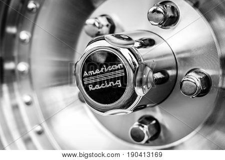 PAULEN IM GLIEN GERMANY - JUNE 03 2017: Detail of a full-size car Oldsmobile Dynamic 88 1960. Black and white. Exhibition