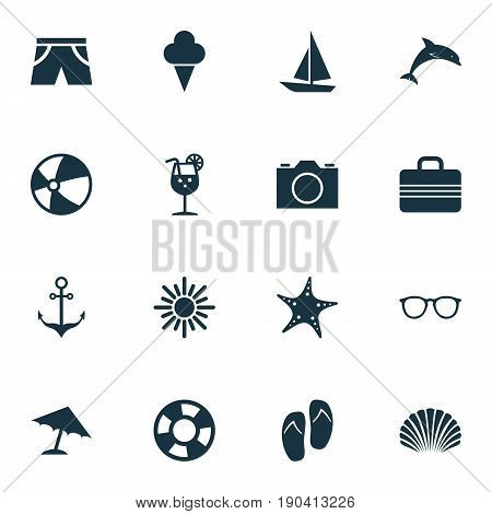 Icons Set. Collection Of Armature, Parasol, Baggage And Other Elements. Also Includes Symbols Such As Mammal, Lifebuoy, Valise.