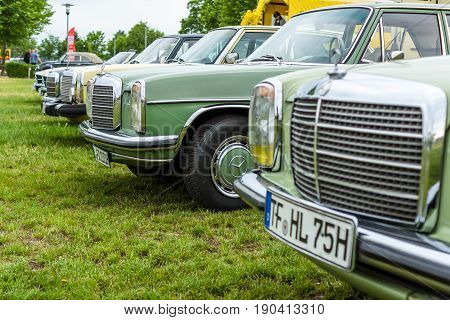 PAAREN IM GLIEN GERMANY - JUNE 03 2017: Various retro cars Mercedes-Benz stand in a row. Focus on the center. Exhibition