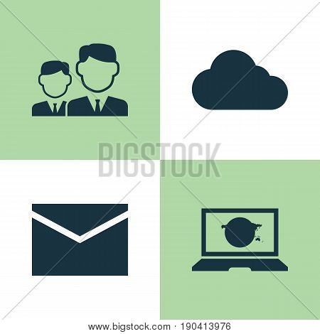 Media Icons Set. Collection Of Letter, Partnership, Overcast And Other Elements. Also Includes Symbols Such As Overcast, Message, Social.