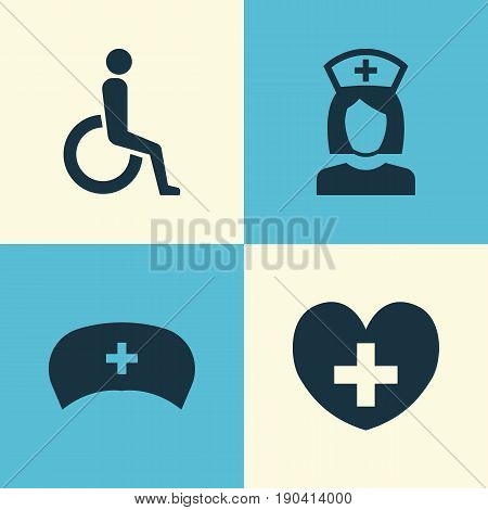 Drug Icons Set. Collection Of Handicapped, Nanny, Heal Elements. Also Includes Symbols Such As Wheelchair, Handicapped, Stethoscope.