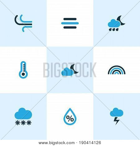 Climate Colorful Icons Set. Collection Of Humidity, Drizzle, Lightning And Other Elements. Also Includes Symbols Such As Arc, Rain, Moonshine.