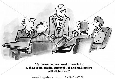 Business cartoon about a manager who believes social media is a fad.