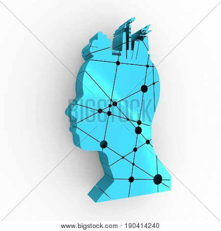 Head with factory for brain. Heavy industry and atom energy. Connected lines with dots. 3D rendering