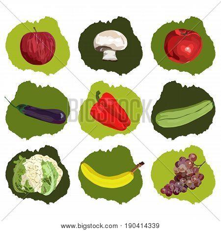 Realistic hand drawn fruits and vegetables. Vector. Set. Vegan. Apple, banana, grape, eggplant marrow squash champignon red pepper tomato cauliflower