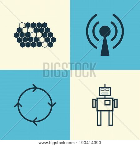 Machine Icons Set. Collection Of Hive Pattern, Radio Waves, Cyborg And Other Elements. Also Includes Symbols Such As Machine, Cycle, Pattern.
