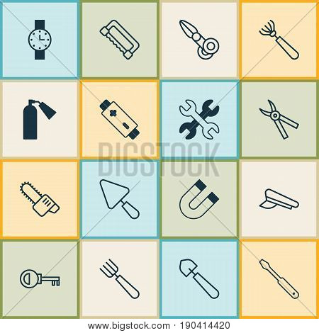 Equipment Icons Set. Collection Of Alkaline, Gasoline Cutter, Carpentry And Other Elements. Also Includes Symbols Such As Access, Harrow, Chainsaw.