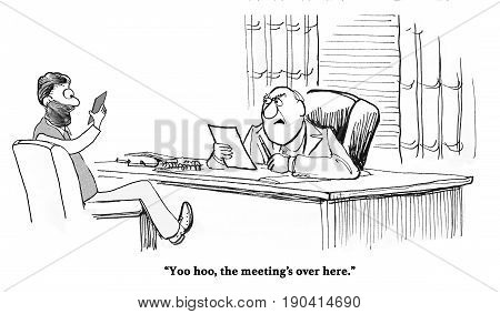 Business cartoon about a worker focused on his cell phone, not the meeting he is in.