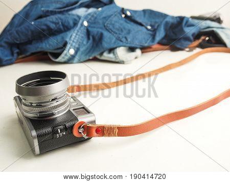 Genuine Leather Camera Strap With Mirorless Camera