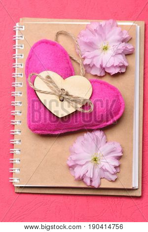 Closed Blank Notebook Cover With Handmade Heart And Sakura Flowers