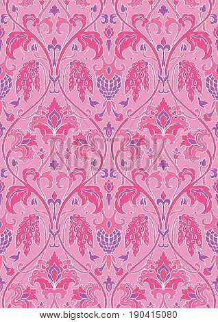 Pink and lilac floral pattern. Seamless filigree ornament. Stylized template for wallpaper textile shawl carpet and any surface. Pattern with flowers and hummingbird.
