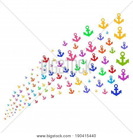 Source of anchor icons. Vector illustration style is flat bright multicolored iconic anchor symbols on a white background. Object fountain constructed from design elements.