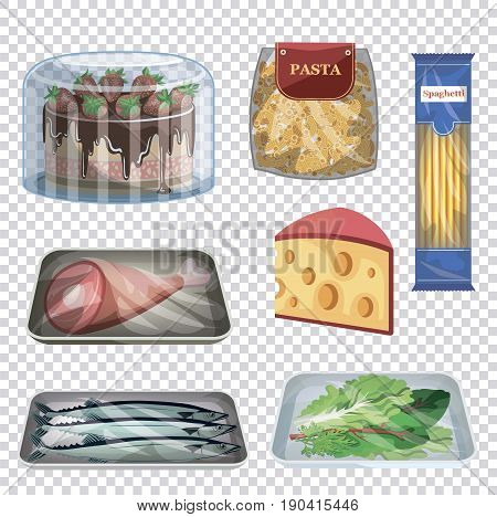 foodstuffs. set of colored vector illustrations on an abstract background