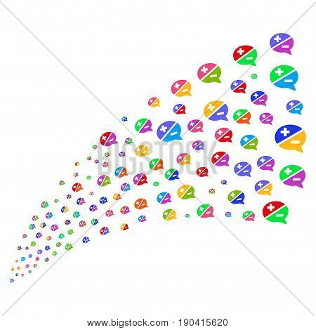 Source of arguments symbols. Vector illustration style is flat bright multicolored iconic arguments symbols on a white background. Object fountain done from pictographs.