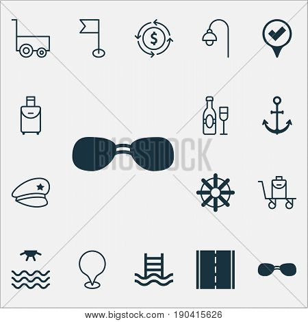 Tourism Icons Set. Collection Of Basin Ladder, Map Pointer, Trip Handbag Elements. Also Includes Symbols Such As Photo, Ensign, Travel.
