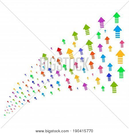 Fountain of arrow pointer icons. Vector illustration style is flat bright multicolored iconic arrow pointer symbols on a white background. Object fountain organized from pictograms.