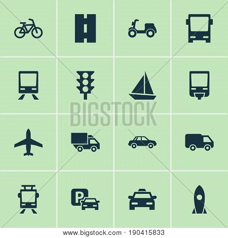 Shipment Icons Set. Collection Of Aircraft, Skooter, Automobile And Other Elements. Also Includes Symbols Such As Wagon, Trolley, Tram.