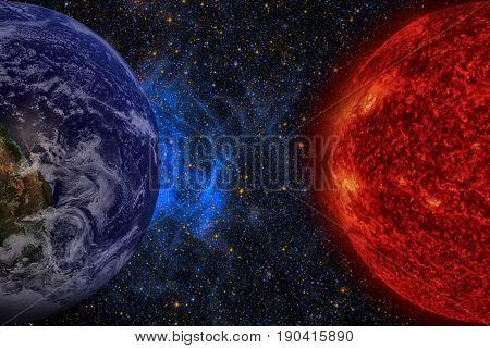 Solar System - Planet Earth An Sun.