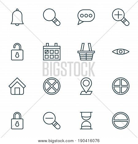 Network Icons Set. Collection Of Calendar, Hourglass, Increase Loup And Other Elements. Also Includes Symbols Such As Pinpoint, Shopping, Trading.