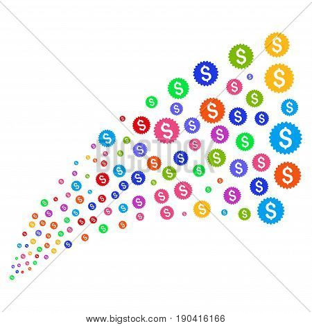 Source stream of bank seal symbols. Vector illustration style is flat bright multicolored iconic bank seal symbols on a white background. Object fountain created from symbols.
