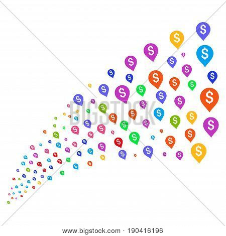 Source of banking map marker icons. Vector illustration style is flat bright multicolored iconic banking map marker symbols on a white background. Object fountain created from design elements.