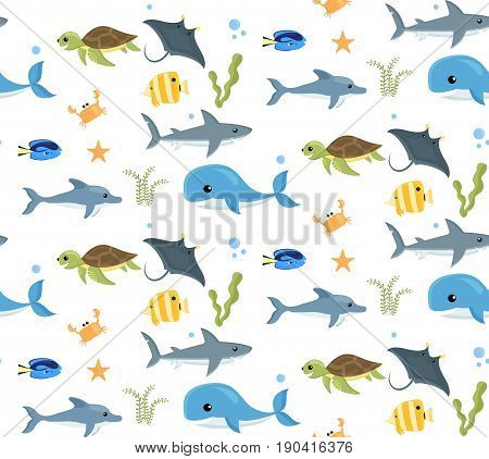 Seamless pattern with cartoon style sea creatures on white.