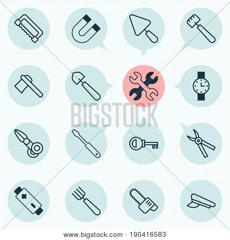 Equipment Icons Set. Collection Of Alkaline, Password, Carpentry And Other Elements. Also Includes Symbols Such As Spanner, Scissors, Pliers.