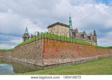 Severe castle Kronborg in Elsinore Denmarkin a ckoudy day