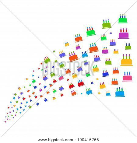 Fountain of birthday cake icons. Vector illustration style is flat bright multicolored iconic birthday cake symbols on a white background. Object fountain done from icons.
