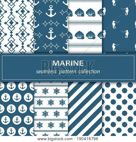 A set of eight paintings. Seamless fabric. Nautical theme. Blue white color. Anchor. Peas. Circle. The medallion. Fish Shell Pearls Wheel Wave Vector
