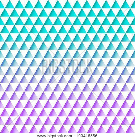 Beautiful geometric seamless pattern of white triangles on a turquoise pink background creating embossed relief on paper